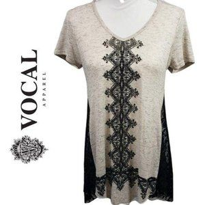 VOCAL Lace Side Geo Print Fit & Flare T Shirt S, M